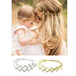 Mommy & Me Matching Leaf Headbands Hairband Set Gold Silver Mom Baby Shower Gift $6.00