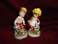 Vtg 2 Bisque Porcelain Boy And Girl Figurines Watering Cans Yellow Caps 4x2 Mint