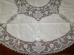 New White Handmade Crochet/embroidered Lacy Tablecloth Round 64 W/ 8 Nanpkins