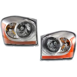 Headlight Set For 2006 Dodge Durango Left And Right Chrome Housing With Bulb 2pc