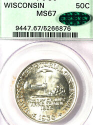 1936 50c Wisconsin Ms67 Pcgs/cac-only 93 Finer-mintage 25,015 Silver Commemora