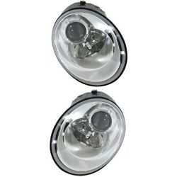 Headlight Set For 2006-2010 Volkswagen Beetle Left And Right With Bulb 2pc