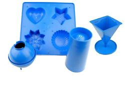 Set Of 4 Candle Moulds, 1 X Tray, 1 X Pillar, 1 X Pyramid, 1 X Sphere S7553