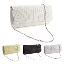 Sparkle Glitter Pattern Satin Women Clutch Bag Bridal Handbag Evening Prom Purse $15.19