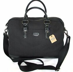 NEW FOSSIL BLACK CANVAS+LEATHER DILLON CASESIMPLE WORK BRIEFCASECROSS BODYBAG