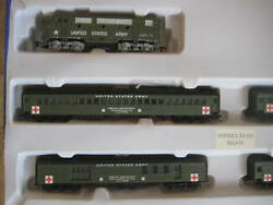 Us Army Military Train Set F3 A Loco And 4 Passenger Cars-dcc/dc/sx Sound Traxx