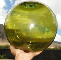 32.5 Antique Olive Colored Glass Fishing Float Ball With Swirls