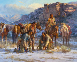 Plans Against The Pecunies By Martin Grelle Native American Indian Canvas 32x40