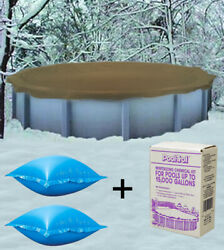 24and039 Round Above Ground Winter Pool Cover + 4and039x4andrsquo Air Pillows + Winterizing Kit