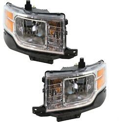 Headlight Set For 2009-2012 Ford Flex Left and Right With Bulb CAPA 2Pc