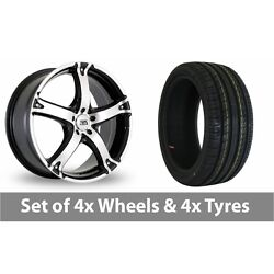 4 X 18 Bk Racing 333 Black Polished Alloy Wheel Rims And Tyres - 225/40/18