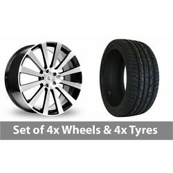 4 X 20 Bk Racing 660 Black Polished Alloy Wheel Rims And Tyres - 295/40/20