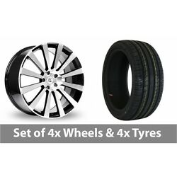 4 X 18 Bk Racing 660 Black Polished Alloy Wheel Rims And Tyres - 245/50/18