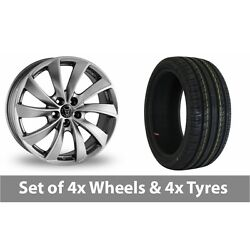 4 X 18 Wolfrace Lugano Shadow Chrome Alloy Wheel Rims And Tyres - 235/50/18