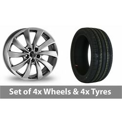 4 X 19 Wolfrace Lugano Shadow Chrome Alloy Wheel Rims And Tyres - 245/35/19