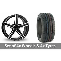 4 X 19 Wolfrace Quinto Black Polished Alloy Wheel Rims And Tyres - 235/50/19