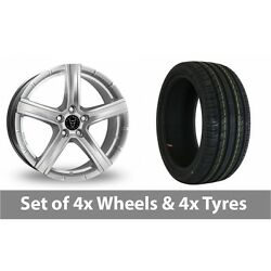 4 X 19 Wolfrace Quinto Silver Alloy Wheel Rims And Tyres - 225/35/19