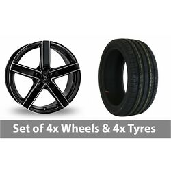 4 X 18 Wolfrace Emotion Black Polished Alloy Wheel Rims And Tyres - 245/45/18
