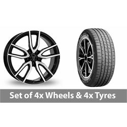 4 X 19 Wolfrace Torino Black Polished Alloy Wheel Rims And Tyres - 255/45/19