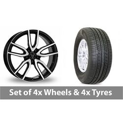 4 X 19 Wolfrace Torino Black Polished Alloy Wheel Rims And Tyres - 255/50/19