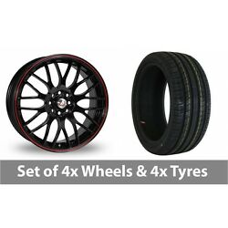 4 X 17 Calibre Motion 2 Black Red Alloy Wheel Rims And Tyres - 215/50/17