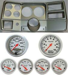 84-87 Chevy Truck Silver Dash Carrier Auto Meter Ultra Lite Electric 5 Gauges