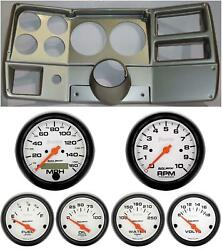 84-87 Chevy Truck Silver Dash Carrier W/ Auto Meter Phantom Electric 5 Gauges