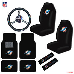 New 9pc Set Nfl Miami Dolphins Seat Covers Floor Mats Steering Wheel Cover