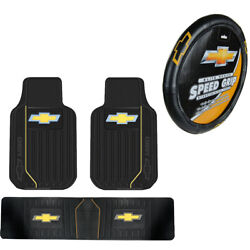 New 4pcs Chevy Elite Style Car Truck Front Rear Floor Mats Steering Wheel Cover