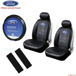 New 7pcs Ford Elite Style Car Truck Front Suv Seat Covers Steering Wheel Cover