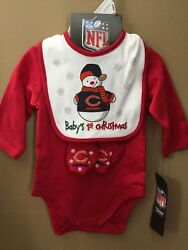 Boys 0-3 Months Chicago Bears 1st Christmas 3pc Set Outfit NEW NWT $20 Gift