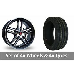 4 X 17 Axe Ex 5ive Black Polished Alloy Wheel Rims And Tyres - 225/60/17