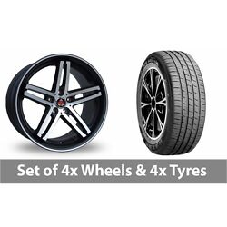4 X 19 Axe Ex Black Polished Pinstripe Alloy Wheel Rims And Tyres - 255/45/19