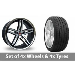 4 X 19 Axe Ex11 Black Polished Alloy Wheel Rims And Tyres - 285/30/19