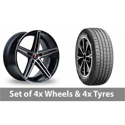 4 X 19 Axe Ex14 Black Polished Alloy Wheel Rims And Tyres - 235/45/19