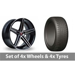 4 X 20 Axe Ex14 Black Polished Alloy Wheel Rims And Tyres - 275/45/20