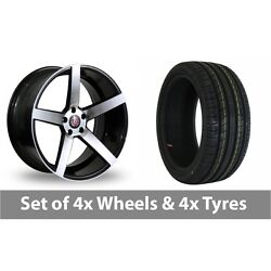 4 X 18 Axe Ex18 Black Polished Alloy Wheel Rims And Tyres - 225/45/18