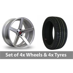 4 X 19 Axe Ex18 Silver Polished Alloy Wheel Rims And Tyres - 245/45/19