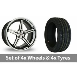 4 X 20 Cades Calisto Black Polished Alloy Wheel Rims And Tyres - 225/30/20