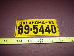 Vintage 1953 Oklahoma Cereal License Plate ,bicycle / Pedal Car 89-5440