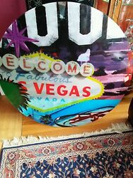 Huge  Welcome To Las Vegas Sign 39 Round Plexiglas Cut Out