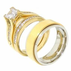 His Hers 3 Pcs Gold Ip Stainless Steel Engagement Ring Set Mens Spinning Band