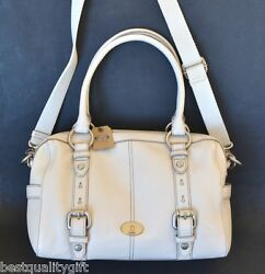 NEW FOSSIL MADDOX WHITE LEATHER SATCHELCROSSBODYHAND+SHOULDER BAGPURSE