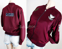 NEW Burgundy Maroon Moto Patches Silky Satin Light Weight Zip Up Bomber Jacket
