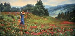 Knee Deep In Poppies By June Dudley Texas Wildflowers Signed Canvas Giclee 12x25