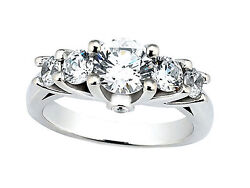 Genuine 1.30ct Round Cut Diamond Engagement Ring Solid 18k Gold Ij Si2