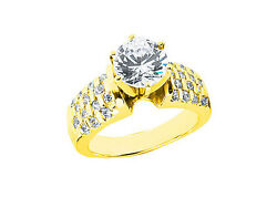 Genuine 1.20ct Round Diamond Engagement Ring Checkered Accents 18k Gold G Si1