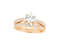 Genuine 1.50ct Round Cut Diamond Engagement Ring Set Solid 18k Gold G Si1