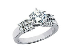 1.25ct Diamond 2row Engagement Ring Alternating Princess Round Accents 18k Gold