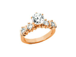 Natural 1.20ct Round Cut Diamond Engagement Ring Solid 18kt Gold G Si1